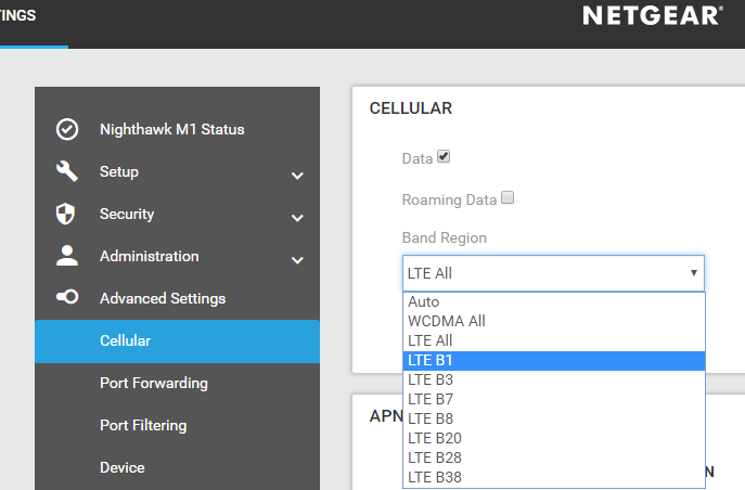 Enable manual band selection on Netgear MR1100 - MT-TECH FI